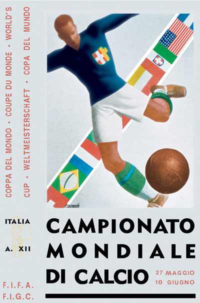 Filippo Marinetti's 1934 World Cup tournament poster.